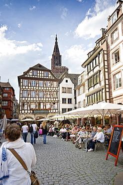 Restaurant in the historic district, Strasbourg, Alsace, France
