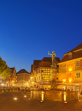 Schwendi well in the evening, Colmar, Alsace, France, Europe