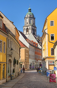 Alley with Church of Our Lady, Meissen, Saxony, Germany, Europe
