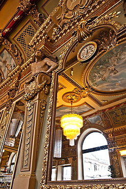 Ceiling with statue and watches, La Bibent Restaurant, Toulouse, Midi-Pyrenees, France