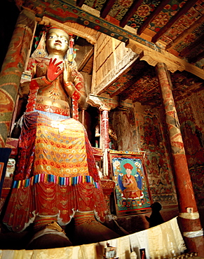 4 storied Buddha statue Maitreya Temple at Basgo Palace, 14th century, former kings palace, Unesco World Cultural Heritage, Indus valley, Ladakh, Jammu and Kashmir, India