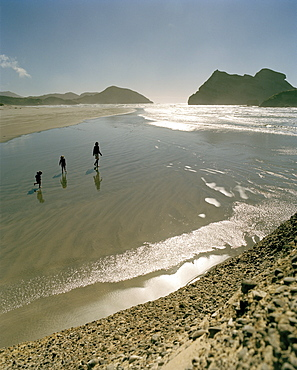 Mother with children on the beach at lowtide, Wharariki Beach, northwest coast, South Island, New Zealand