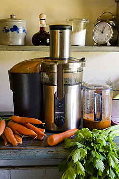 Fresh carrot juce, vegetable juice extractor, Homemade