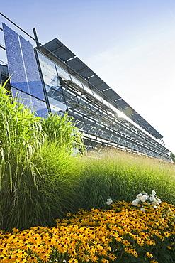 Facade of the solar factory, Freiburg im Breisgau, Black Forest, Baden-Wuerttemberg, Germany, Europe