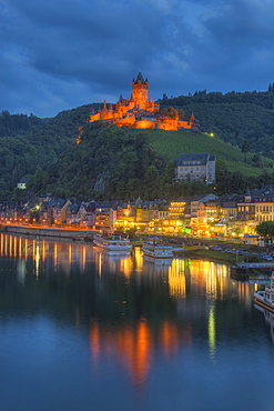 View at Cochem with Castle at dusk, Moselle, Rhineland-Palatine, Germany