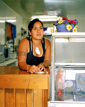 Maori Barb Stainton works at fastfood restaurant on main street, Te Araroa, Eastcape, North Island, New Zealand