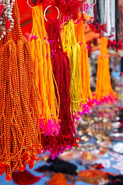 Offerings for sale at market on banks of Ganges river, Simaria, Bihar, India