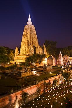 Mahabodhi Temple at night, the place where historical Buddha Siddhartha Gautama reached enlightment, Bodh Gaya, Gaya, Bihar, India