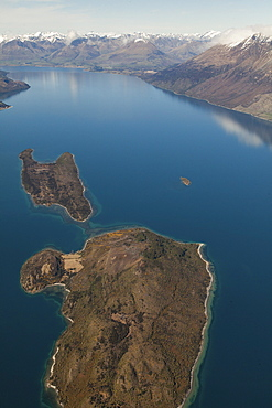 Aerial view of Lake Wakatipu, Pigeon and Pig Islands, Queenstown, Oatgo, South Island, New Zealand