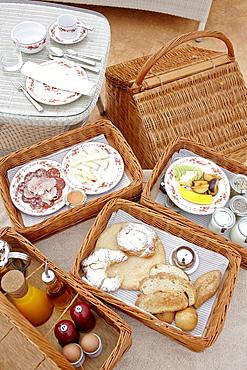 Breakfast basket as room service, Hotel Cap Rocat, Ctra. d'enderrocat, s/n, 07609 Cala Blava, Mallorca, Balearic Islands, Spain