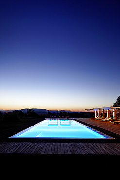 Pool of Sa Franquesa Nova Hotel at night, Hotel Rural, country hotel between Villafranca de Bonany and Manacor, Mallorca, Balearic Islands, Spain