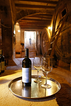 Wine cellar with self-service for guests, Finca Raims, rebuilt vineyard and country hotel, Algaida, Mallorca, Balearic Islands, Spain