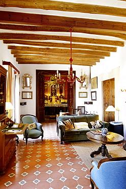 Parlour with antlered chapel of the old vineyard, Finca Raims, rebuilt vineyard and country hotel, Algaida, Mallorca, Balearen, Spanien