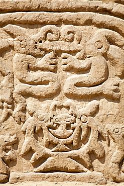 Carving detail at Arco Iris Rainbow Temple, Trujillo, La Libertad, Peru, South America