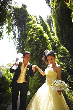 Bridal couple, Xeo Quit jungle, Viet Cong Warfare open-air museum, Cao Lanh, Dong Thap, Vietnam
