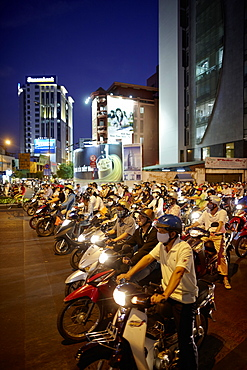 Scooterists at night, Ho-Chi-Minh City, Vietnam