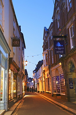 View along a street in the evening, Fowey, Cornwall, England, United Kingdom