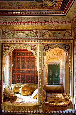Heavely ornated interior of the Patwa Haveli, Jaisalmer, Rajasthan, India