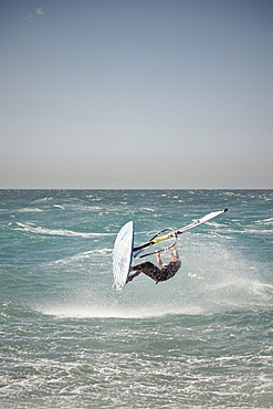 Windsurfer jumping, Piran, Adria coast, Mediterranean Sea, Primorska, Slovenia