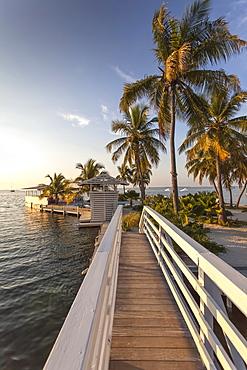 Wooden bridge leading to sandy island, Hotel Resort Casa Morada, Islamorada, Florida Keys, Florida, USA