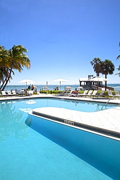 Pool area at luxury hotel Reach Resort, Key West, Florida Keys, USA