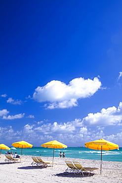 Beach with sunshades, South Beach, Miami, Florida, USA