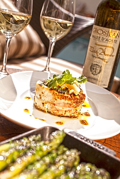Spiced grilled swordfish with preserved lemon, coriander and olive oil dressing, Restaurant BLT Steak at Hotel The Betsy, Ocean Drive, South Beach, Miami, Florida, USA