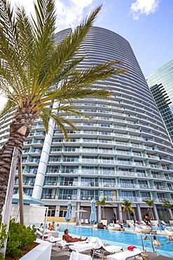 Pool area at hotel Epic, Downtown Miami, Miami, Florida, USA