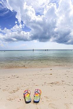 Flipflops on the beach, Beach impression at Bahia Honda State Park, Florida Keys, USA