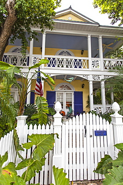 Typical Conch House architecture, unique to Key West, with garden, Key West, Florida Keys, Florida, USA