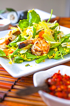 Urap Urap, Grilled shrimps marinated in Palm sugar and lime juice with salad of blenched vegetables, Restaurant Indomania, South Beach, Miami, Florida, USA