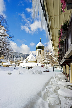 Hotel Adler and church, Hinterzarten, Black Forest, Baden-Wuerttemberg, Germany