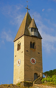 Bell tower with moon in the vineyards of Kobern-Gondorf, Mosel, Rhineland-Palatinate, Germany, Europe