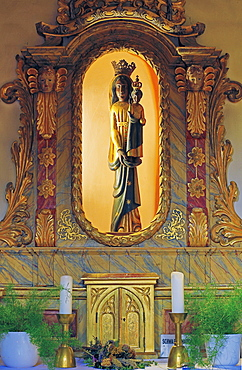 Black Madonna in the baroque monastery church in Beilstein, Mosel, Rhineland-Palatinate, Germany, Europe
