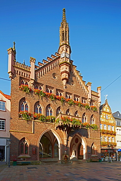 Neogothic town hall in the old town of Montabaur, Grosser Markt, Montabaur, Westerwald, Rhineland-Palatinate, Germany, Europe