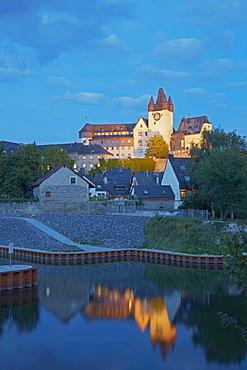 Diez castle at night, Diez an der Lahn, Westerwald, Rhineland-Palatinate, Germany, Europe