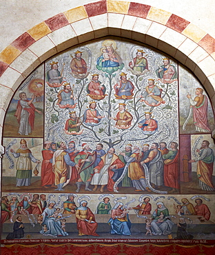 Family tree of Jesse, Fresco in Limburg cathedral, St. Georgs Cathedral, Limburg, Westerwald, Hesse, Germany, Europe