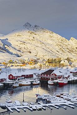 Village of Sorvagen, Moskenesoya, Lofoten, Nordland, Norway