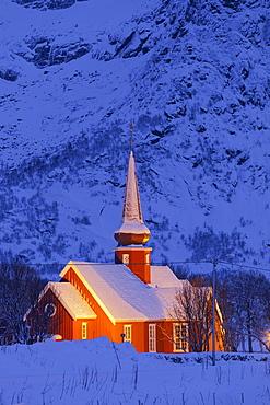 Flakstad church in the evening light, Flakstadoya, Lofoten, Nordland, Norway
