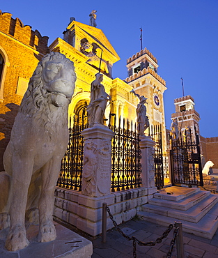 Lion Statue in front of the Campo Arsenale, Castello, Venice, Italy