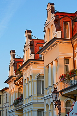 Architecture in the seaside resort of Ahlbeck, Island of Usedom, Baltic Sea Coast, Mecklenburg Western Pommerania, Germany