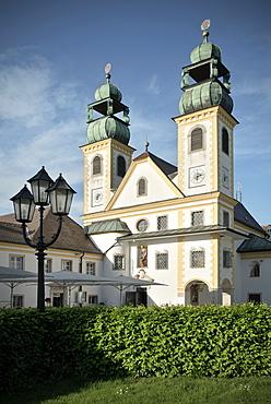 Church towers of Maria Hilf monastry, Passau, Lower Bavaria, Bavaria, Germany