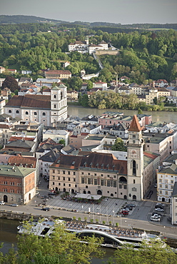 View of the old town of Passau with town hall, church of St. Michael and monastry Maria Hilf, River Danube and Inn, Passau, Lower Bavaria, Bavaria, Germany