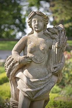 Statue in the gardens of the castle Burggarten, Rothenburg ob der Tauber, Romantic Road, Franconia, Bavaria, Germany