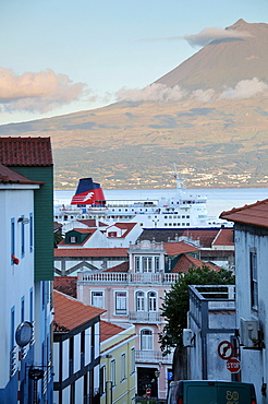 View towards Pico Vulcano from Horta, Island of Faial, Azores, Portugal