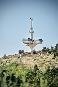 Radio control tower with view platform, Socialist architecture in the capital Podgorica, Montenegro, Western Balkan, Europe