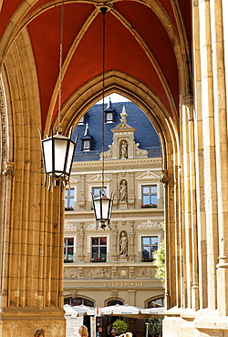 View from the City Hall to the Guild House, Fish Market, Erfurt, Thuringia, Germany