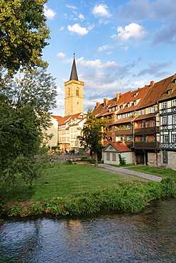 Kraemerbruecke with half-timbered buildings, Erfurt, Thuringia, Germany