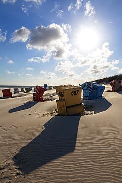 Beach chairs on the beach, sun, clouds, Langeoog Island, North Sea, East Frisian Islands, East Frisia, Lower Saxony, Germany, Europe