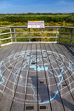 Otto Leege nature trail, bird migration map, Juist Island, Nationalpark, North Sea, East Frisian Islands, East Frisia, Lower Saxony, Germany, Europe